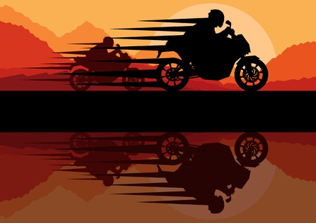 electric motor: Sport motorbike riders motorcycle silhouettes reflection in wild mountain landscape background illustration vector Illustration