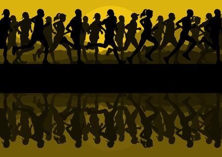 Marathon runners people silhouettes illustration vector collection Stock Vector - 12485064