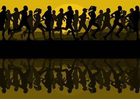 marathon running: Marathon runners people silhouettes illustration vector collection Illustration