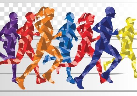 maratón: Maratónci v barevné duhové krajinné pozadí, ilustrace