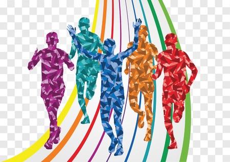 athletic body: Marathon runners in colorful rainbow landscape background illustration Illustration