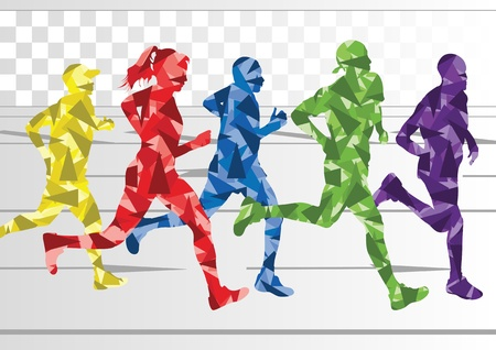 woman run: Marathon runners in colorful rainbow landscape background illustration Illustration