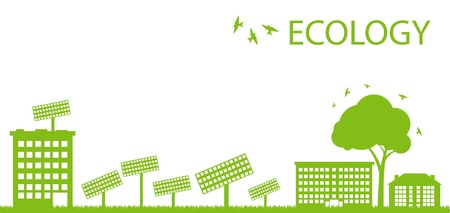 eco building: Green Eco city ecology vector background concept with solar plants Illustration