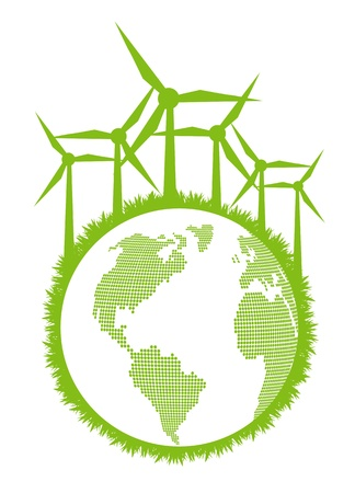 Ecological planet vector background with wind generators Vector