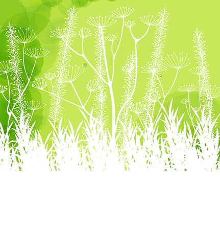 Green abstract light background with white grass Stock Vector - 12485417