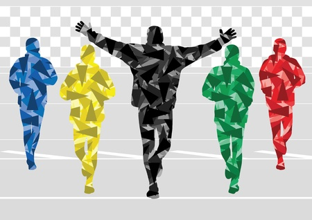 Marathon runners in colorful rainbow landscape background illustration Vector