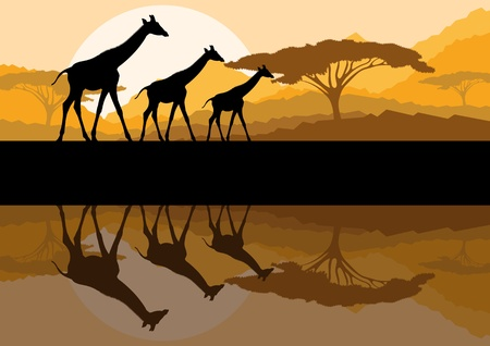 mother earth: Giraffe family silhouettes in Africa wild nature mountain landscape background illustration vector Illustration
