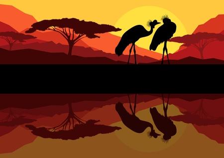 Crane couple in wild mountain nature landscape background illustration vector Stock Vector - 12931392