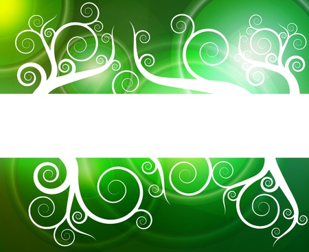 Green abstract light background vector with white swirls Stock Vector - 12931370