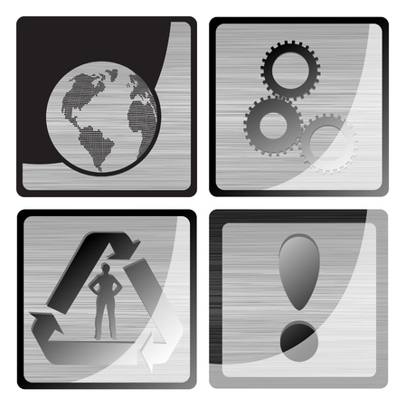 industrial icon: Gear and globe metalic vector icon Illustration