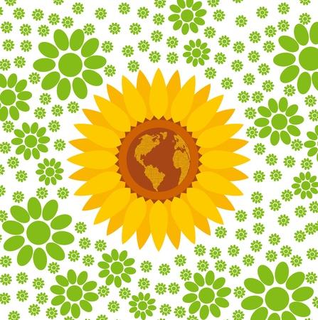 Zonnebloem vector concept van ADN wereldkaart in het midden achtergrond