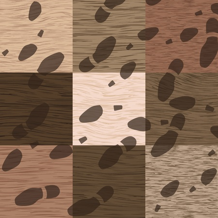 Man and woman footprints on detailed wood texture floor background illustration vector Vector