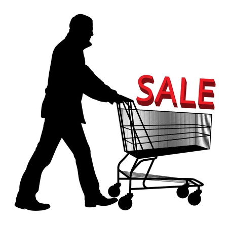 Big save in a shopping cart  Concept of discount vector background Stock Vector - 12931342