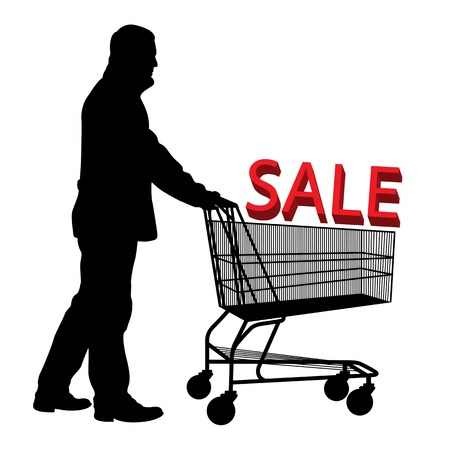 checkout: Big save in a shopping cart  Concept of discount vector background