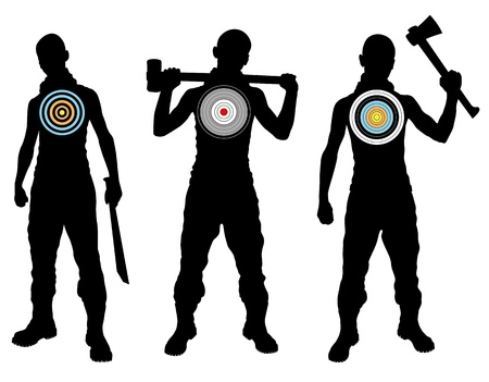 man gun: Targets with aims vector background Illustration