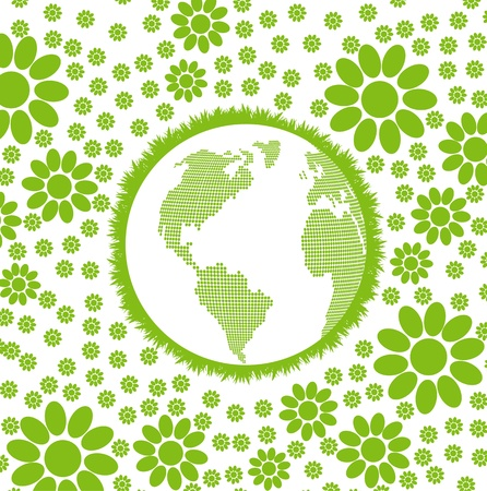Green and clean ecology earth globe concept vector background with flowers around it Stock Vector - 12931442