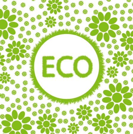 Green and clean ecology earth globe concept vector background with flowers around it Vector