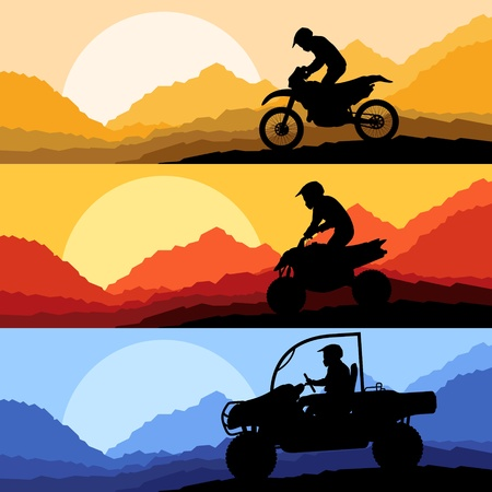 extreme terrain: All terrain and sport motorbike riders motorcycle silhouettes reflection collection in wild mountain landscape background illustration vector Illustration