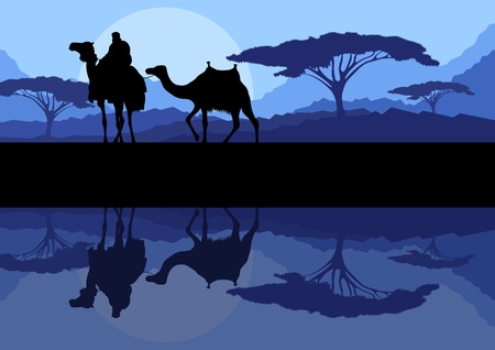 desert storm: Camel caravan in wild mountain nature landscape background illustration vector