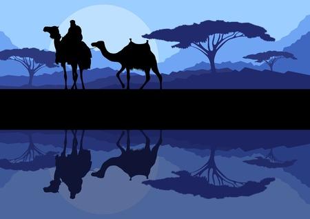 Carovana di cammelli selvatici in natura, montagna, illustrazione vettoriale paesaggio di sfondo