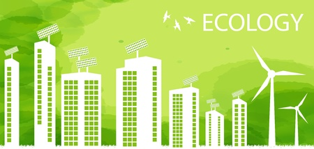 Green Eco city ecology vector background concept Vector