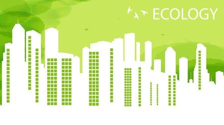 ecologic: Green Eco city ecology vector background concept Illustration