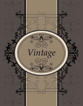 classical arts: Vintage vector frame background with copy space for text