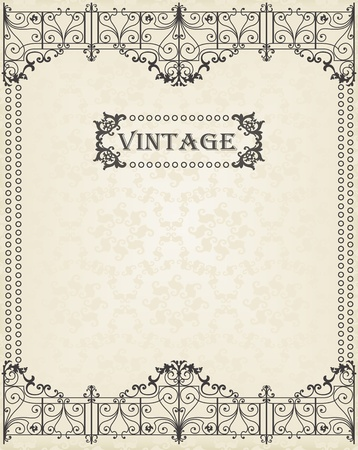 with space for text: Vintage vector frame background with copy space for text