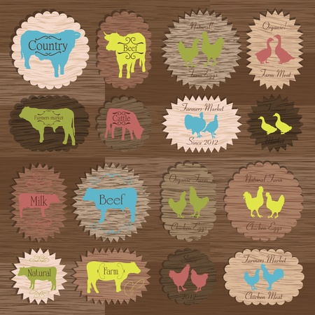 Farm animals market egg and meat labels food illustration collection on wood texture background vector Vector