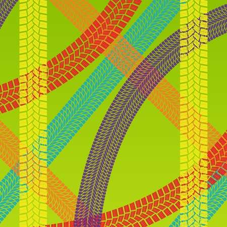 Summer tire tracks colorful pattern illustration collection background vector Vector