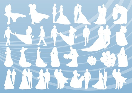 balloon bouquet: Bride and groom in wedding silhouettes illustration collection background vector
