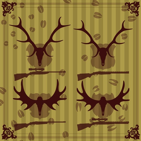 taxidermy: Deer and moose horns hunting trophy illustration collection background vector
