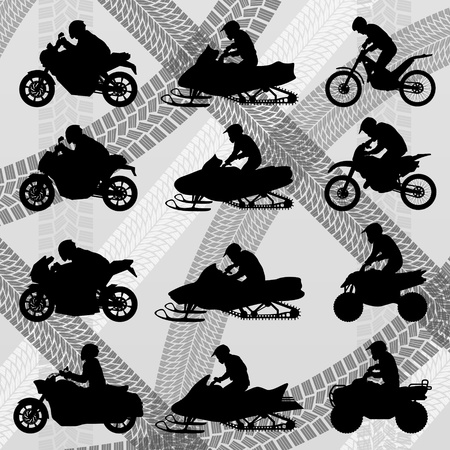 motorbike jumping: Motorcycles silhouettes illustration collection