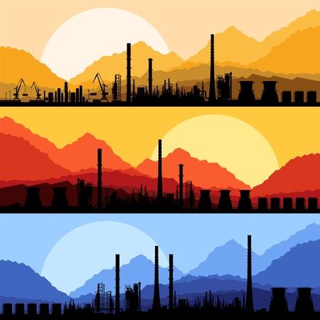 refinería de petróleo: Refinería de aceite de la fábrica industrial del paisaje ilustración vectorial Vectores