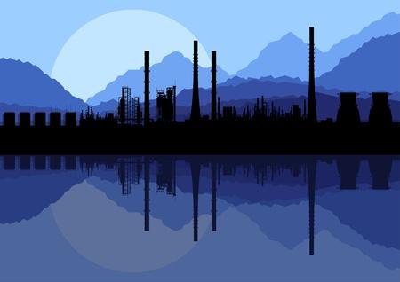 toxic cloud: Industrial oil refinery factory landscape illustration vector Illustration