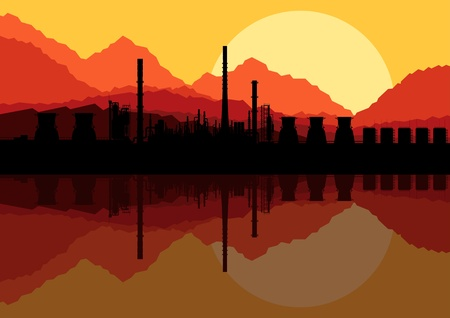 Industrial oil refinery factory landscape illustration vector Stock Vector - 12931422