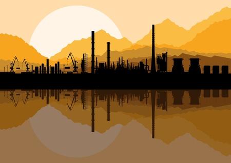 urban area: Industrial oil refinery factory landscape illustration vector Illustration