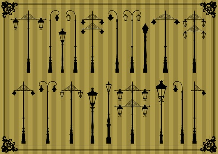 vector lamp: Vintage street lamp detailed silhouettes illustration collection background vector