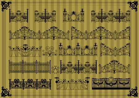 Vintage gate and street fence illustration collection background vector Vector