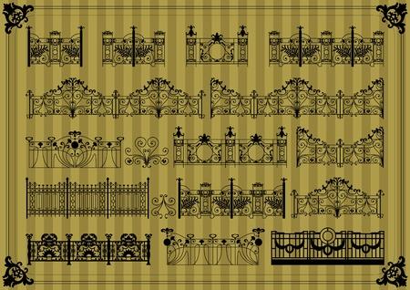 rejas de hierro: Vintage puerta y valla de la calle de fondo ilustración vectorial colección Vectores
