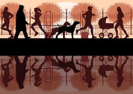 People walking, running and cycling in old vintage city park landscape background illustration vector Vector