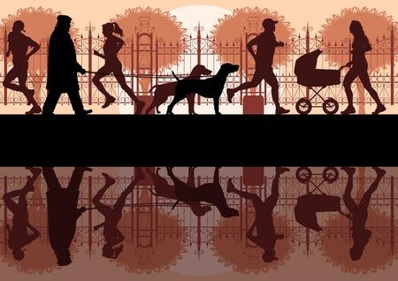 perro familia: Personas caminando, corriendo o en bicicleta en la ciudad vieja cosecha vector de paisaje del parque ilustración de fondo