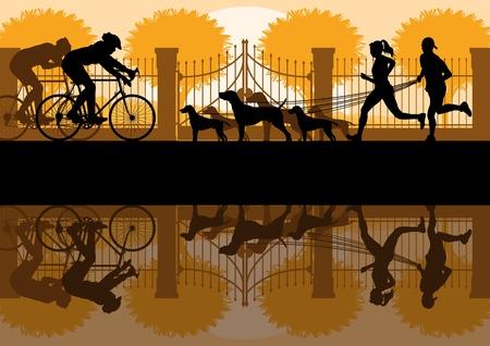 reflectie water: Mensen wandelen, hardlopen en fietsen in oude uitstekende stadspark landschap achtergrond illustratie vector