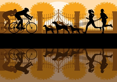 reflection in mirror: People walking, running and cycling in old vintage city park landscape background illustration vector