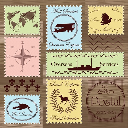 perforated stamp: Vintage postage stamps and elements illustration collection background vector
