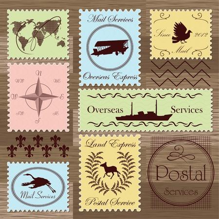 postage stamp: Vintage postage stamps and elements illustration collection background vector