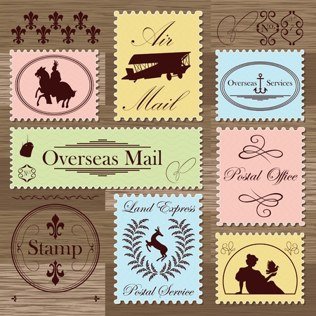 philately: Vintage postage stamps and elements illustration collection background vector