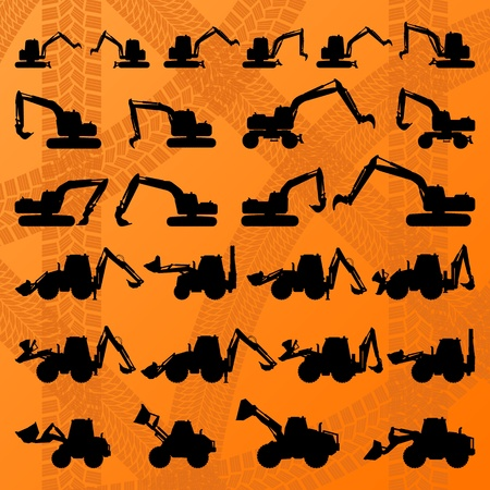 Excavator detailed editable silhouettes illustration collection in construction site background vector