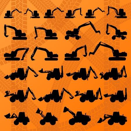 Pelle détaillé pour la collection modifiable illustration silhouettes dans le vecteur de fond la construction du site Vecteurs