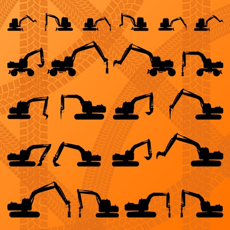 hydraulic: Excavator detailed editable silhouettes illustration collection in construction site background vector Illustration